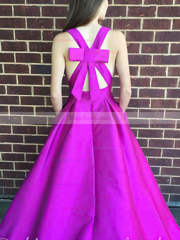 A-line V-neck Satin Floor-length Bow Prom Dresses #Favs020106112