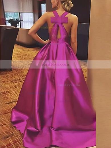 A-line V-neck Satin Floor-length Bow Prom Dresses #Favs020106112