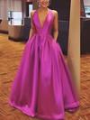 A-line V-neck Floor-length Satin Prom Dresses with Bow #Favs020106112