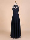 A-line High Neck Chiffon Floor-length Beading Prom Dresses #Favs020101828