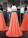 A-line Halter Sweep Train Chiffon Prom Dresses with Pearl Detailing #Favs020103270