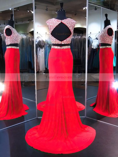 Trumpet/Mermaid Scoop Neck Sweep Train Chiffon Prom Dresses with Split Front #Favs020103276
