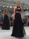 A-line Scoop Neck Chiffon Floor-length Appliques Lace Prom Dresses #Favs020103294
