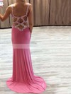 Sheath/Column V-neck Jersey Sweep Train Beading Prom Dresses #Favs020103525