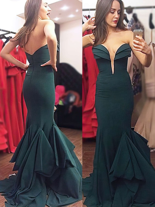 Trumpet/Mermaid V-neck Chiffon Sweep Train Ruffles Prom Dresses #Favs020103754