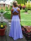 A-line V-neck Chiffon Floor-length Beading Prom Dresses #Favs020104383