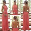 A-line Halter Chiffon Floor-length Beading Prom Dresses #Favs020104388