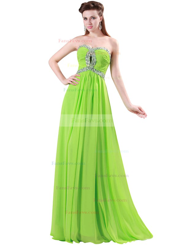A-line Sweetheart Chiffon Floor-length Beading Prom Dresses #Favs020104464