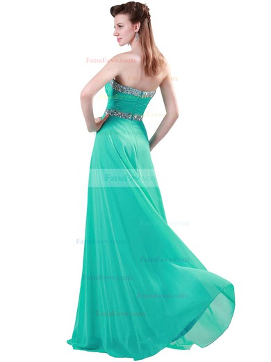 A-line Sweetheart Floor-length Chiffon Prom Dresses with Beading Ruffle #Favs020104464