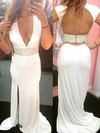 Sheath/Column V-neck Sweep Train Chiffon Prom Dresses with Split Front Beading #Favs020104515