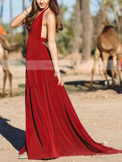 A-line Halter Chiffon Floor-length Split Front Prom Dresses #Favs020104859
