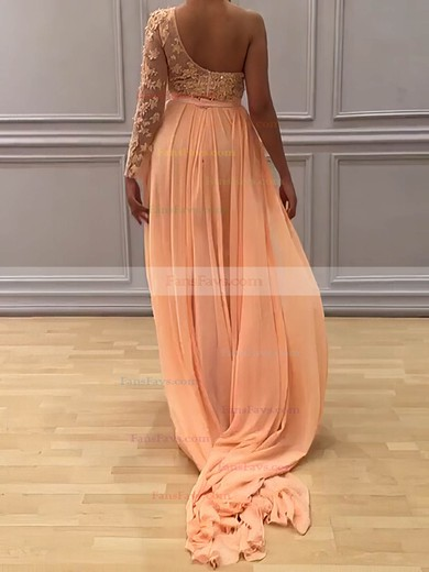 Sheath/Column One Shoulder Sweep Train Chiffon Prom Dresses with Appliques Lace Sashes #Favs020104983