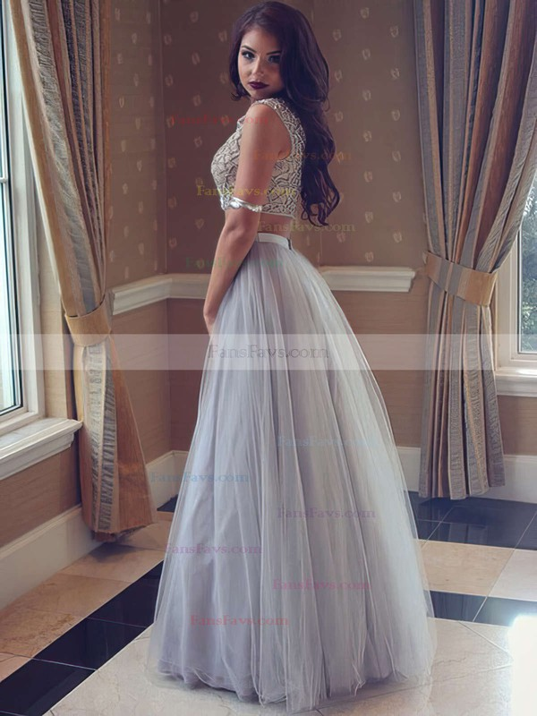Princess Scoop Neck Floor-length Tulle Prom Dresses with Pearl Detailing #Favs020103295