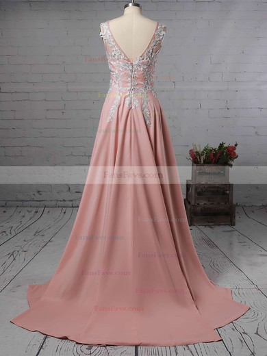 A-line V-neck Sweep Train Chiffon Prom Dresses with Appliques Lace Split Front #Favs020105179