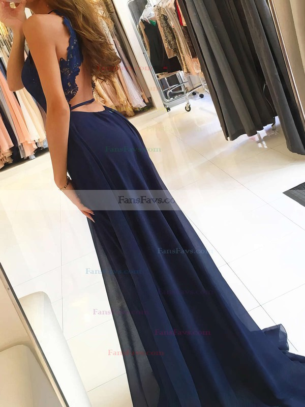 A-line Scoop Neck Chiffon Sweep Train Appliques Lace Prom Dresses #Favs020105184