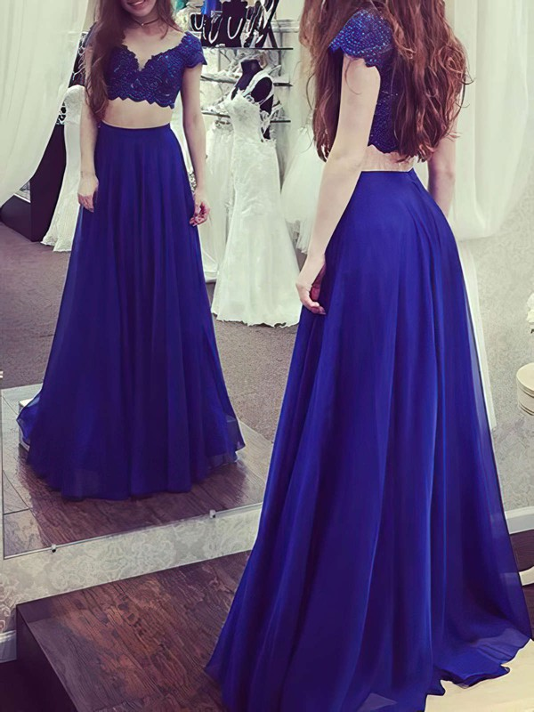 A-line V-neck Chiffon Floor-length Lace Prom Dresses #Favs020105263