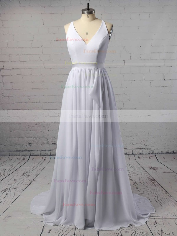 A-line V-neck Sweep Train Chiffon Prom Dresses with Sashes #Favs020105276