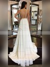 A-line V-neck Chiffon Sweep Train Sashes / Ribbons Prom Dresses #Favs020105276