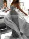 A-line V-neck Tulle Floor-length Sequins Prom Dresses #Favs020105288
