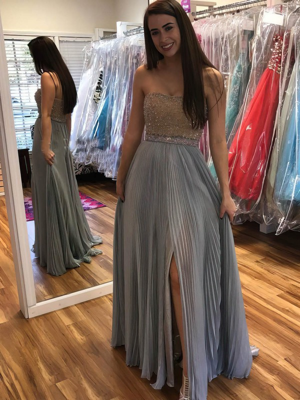 A-line Strapless Chiffon Floor-length Beading Prom Dresses #Favs020105300