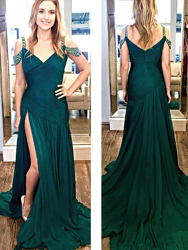A-line V-neck Chiffon Sweep Train Beading Prom Dresses #Favs020105354