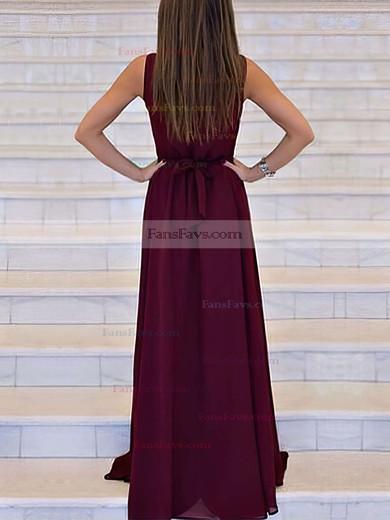 A-line V-neck Chiffon Sweep Train Sashes / Ribbons Prom Dresses #Favs020105360