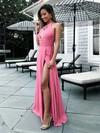 A-line Scoop Neck Chiffon Floor-length Split Front Prom Dresses #Favs020105363