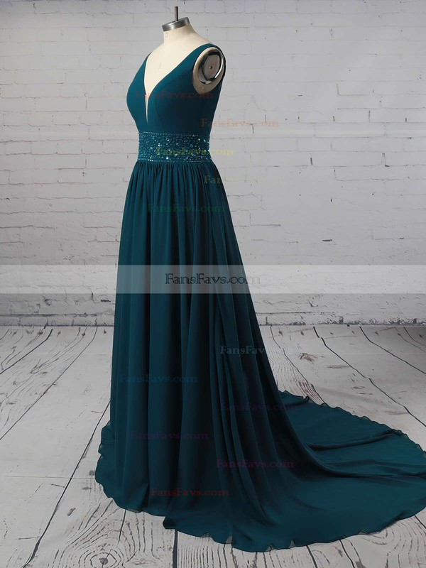 A-line V-neck Chiffon Sweep Train Beading Prom Dresses #Favs020105755