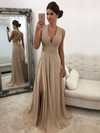 A-line V-neck Chiffon Sweep Train Beading Prom Dresses #Favs020105761