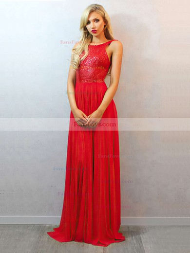 A-line Scoop Neck Floor-length Chiffon Prom Dresses with Ruffle Sequins #Favs02018684