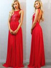 Scoop Neck Red Chiffon Sequined Ruffles Open Back New Style Prom Dress #Favs02018684