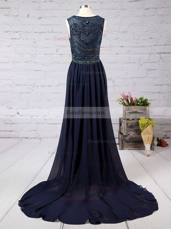 Trumpet/Mermaid Scoop Neck Chiffon Court Train Beading Prom Dresses #Favs020101816