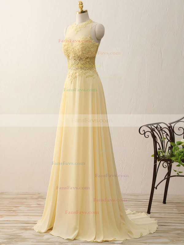 A-line Scoop Neck Chiffon Sweep Train Appliques Lace Prom Dresses #Favs020102400