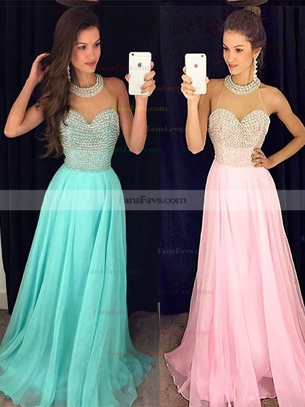 A-line Scoop Neck Chiffon Sweep Train Crystal Detailing Prom Dresses #Favs020102441