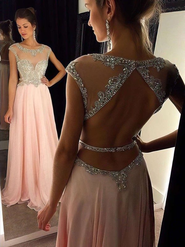 A-line Scoop Neck Chiffon Floor-length Beading Prom Dresses #Favs020102446