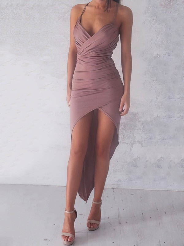 Sheath/Column V-neck Jersey Asymmetrical Ruffles Hot High Low Prom Dresses #Favs020103524