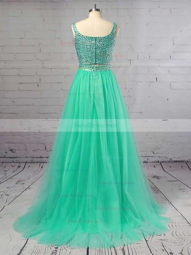 Princess Square Neckline Sweep Train Tulle Prom Dresses #Favs020103321