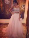 Princess Square Neckline Sweep Train Tulle Prom Dresses #Favs020103321