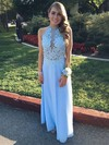 A-line Scoop Neck Ankle-length Chiffon Prom Dresses with Appliques Lace Sequins #Favs020102693