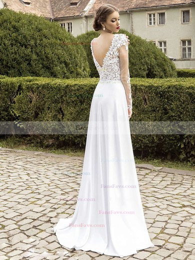 A-line V-neck Chiffon Sweep Train Split Front Prom Dresses #Favs020102865