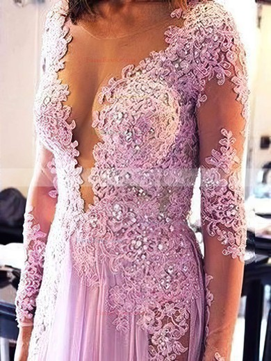 A-line Scoop Neck Sweep Train Chiffon Prom Dresses with Appliques Lace Sequins #Favs020103641