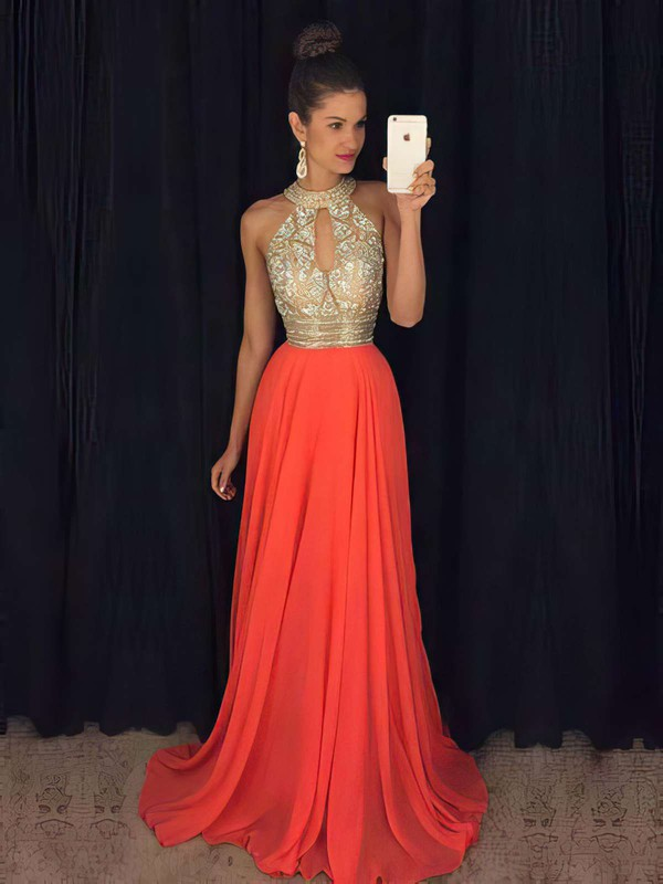 A-line High Neck Chiffon Sweep Train Beading Prom Dresses #Favs020103750