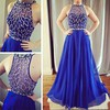 A-line Scoop Neck Chiffon Sweep Train Beading Prom Dresses #Favs020104406