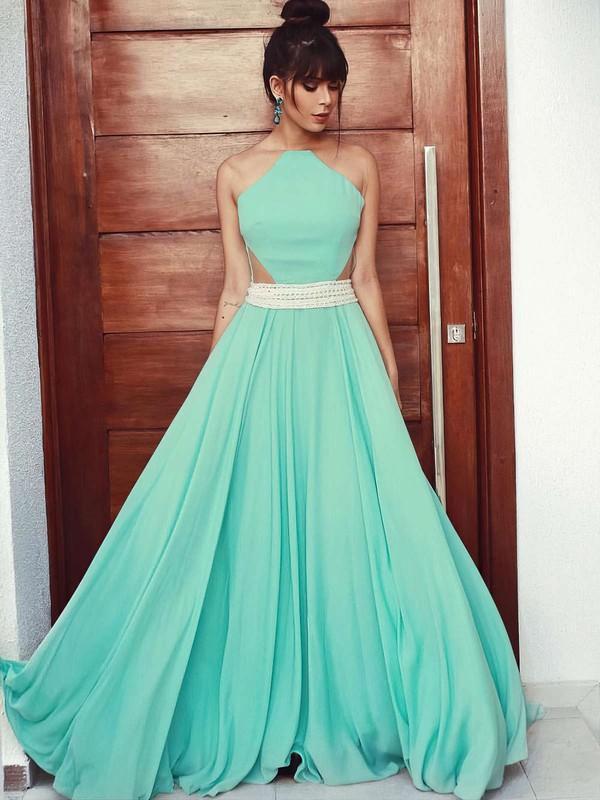 A-line Scoop Neck Chiffon Floor-length Beading Prom Dresses #Favs020105162