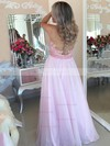 A-line Scoop Neck Chiffon Floor-length Appliques Lace Prom Dresses #Favs020105247