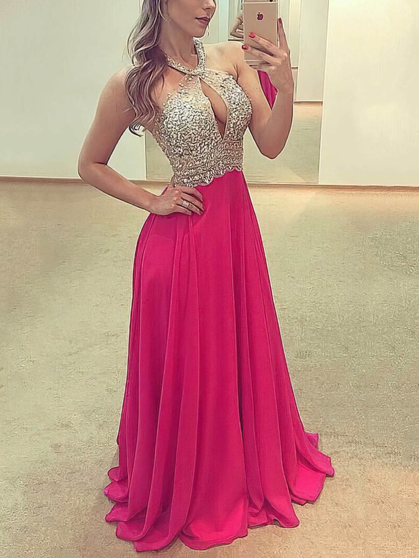 A-line Scoop Neck Floor-length Chiffon Prom Dresses with Beading #Favs020105346