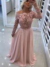 A-line Off-the-shoulder Chiffon Floor-length Appliques Lace Prom Dresses #Favs020105588
