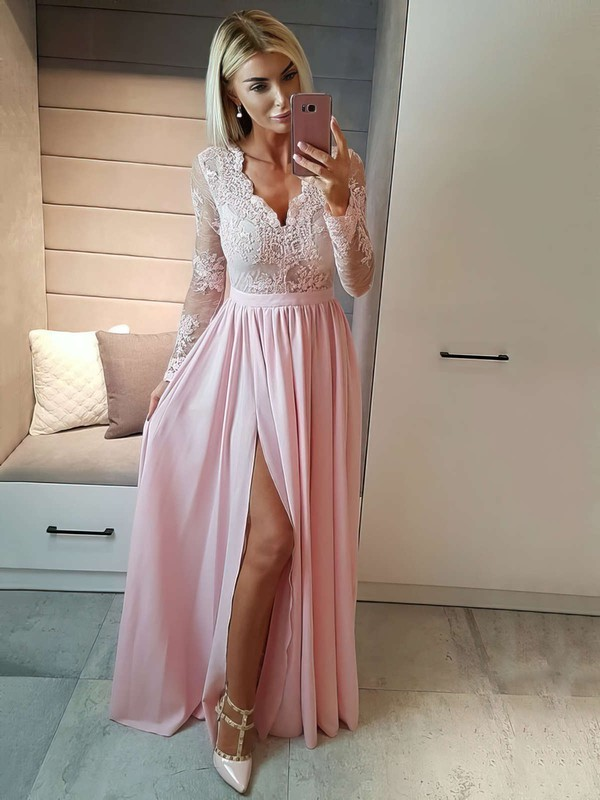 A-line V-neck Floor-length Chiffon Prom Dresses with Appliques Lace Split 5ac3d7c33