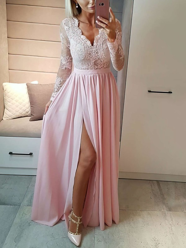 A-line V-neck Floor-length Chiffon Prom Dresses with Appliques Lace Split Front #Favs020105623