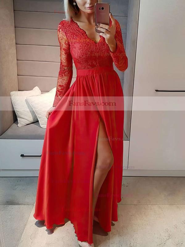 A-line V-neck Chiffon Floor-length Appliques Lace Prom Dresses #Favs020105623